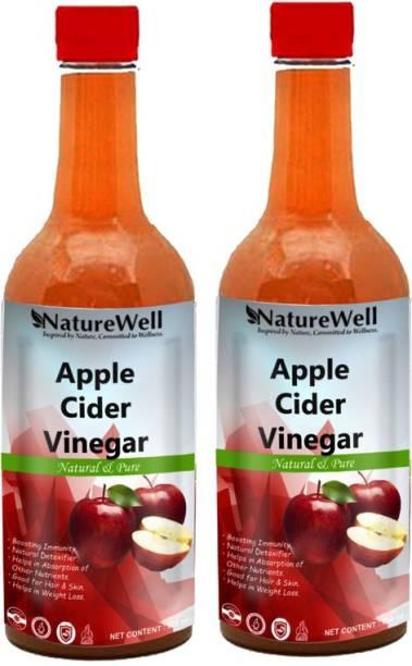 Naturewell Raw Apple Cider Vinegar with Mother for Weight Loss Vinegar (500MLX2/REGE)Pro Vinegar