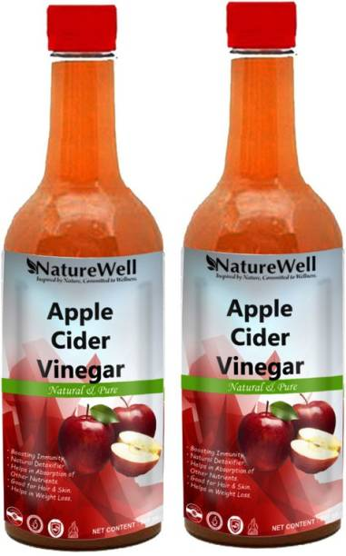 Naturewell Raw Apple Cider Vinegar with Mother for Weight Loss Vinegar (500MLX2/REGE)Premium Vinegar