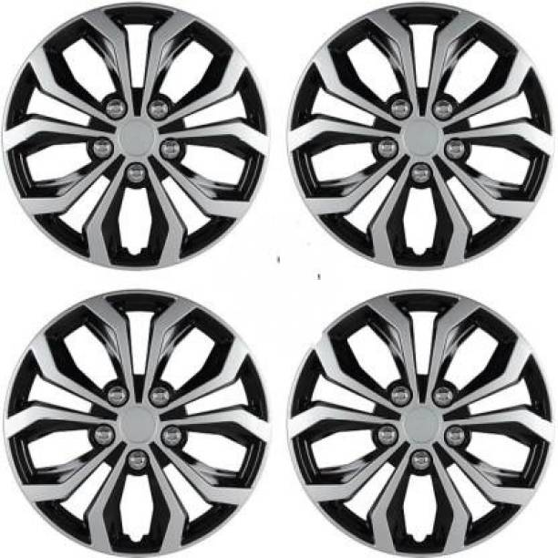 Ubom Dual Color Silver Black 14-inch Tyre Sport Rim cover, Wheel Cover with Rings, wheel cap 14-inch (Set of 4pc, Glossy Silver Black) Wheel Cover Wheel Cover For Honda Brio
