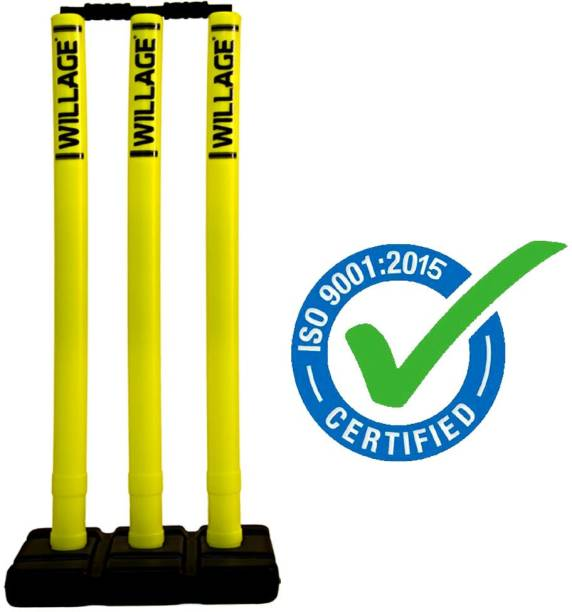WILLAGE Cricket Wicket Plastic Cricket Stumps Set - 3 Stumps + 2 Bails + 1 Stand
