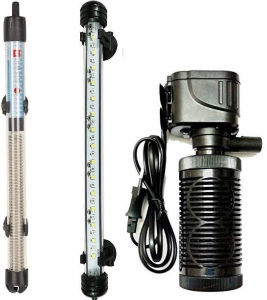 Buraq Aquarium Essentials Fish Tank Multi Color Light with Internal Filter (FILTRER + Light + Heater) Power Aquarium Filter