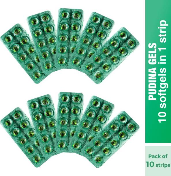 Dr. Morepen Pudina Gels Acidity Relief Medicine For Indigestion, Pack of 10 - 10 Digestive Capsules Each