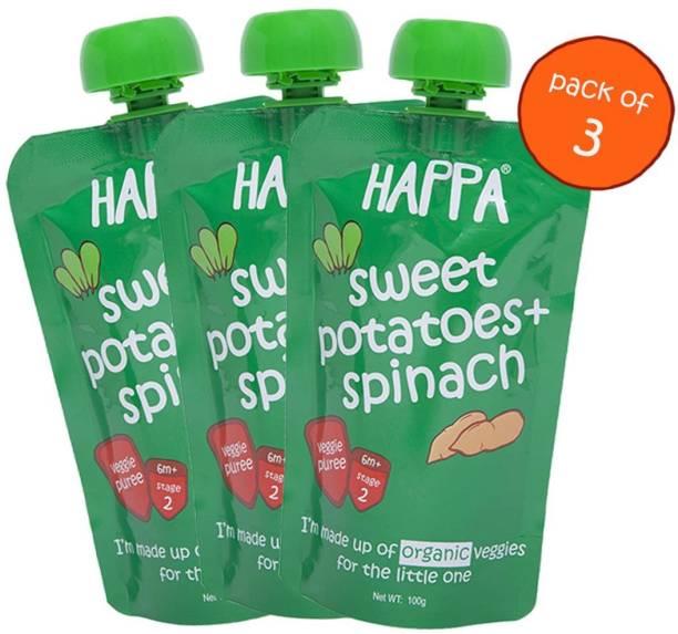 Happa Organic Sweet Potatoes And Spinach Veggie Puree Cereal