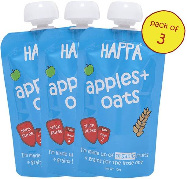 Happa Organic Apples And Oats Fruit And Grain Puree Cereal