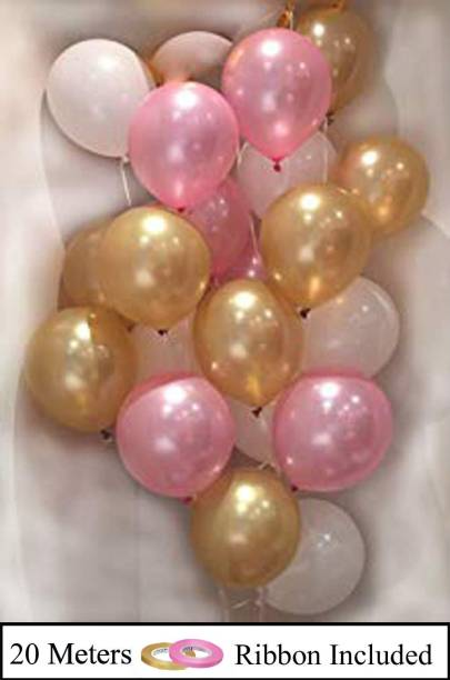 DECOR MY PARTY Solid 10 Inch Pink ,Golden & White Metallic Balloons for 1st Birthday Party Decorations , Welcome Baby Decoration , Bachelors Party , Office Party , Diwali , New Year Party, Christmas Decoration Items Balloon
