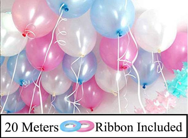 DECOR MY PARTY Solid 10 Inch Pink , Blue & White Metallic Balloons for 1st Birthday Party Decorations , Welcome Baby Decoration , Bachelors Party , Office Party , Diwali , New Year Party, Christmas Decoration Items Balloon
