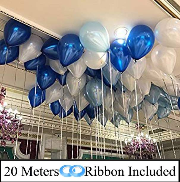 DECOR MY PARTY Solid 10 Inch Dark Blue, Light Blue & White Metallic Balloons for Birthday Party Decorations , Engagement , Decoration for Wedding , Baby Shower Balloon