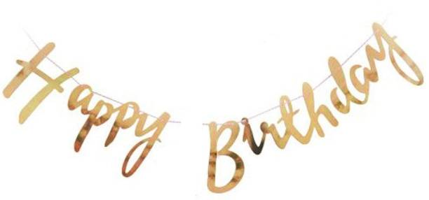 Riit Happy Birthday Banner with Name for Birthday Party - Gold Banner
