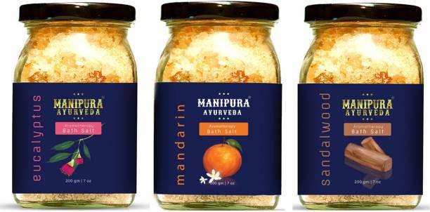 Manipura Ayurveda Aromatherapy Eucalyptus+ Mandarin+ Sandalwood bath salt combo of 3