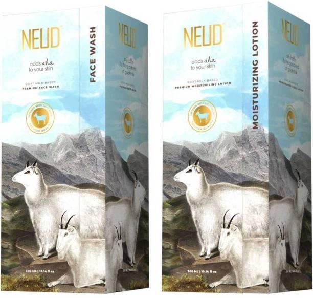 NEUD Goat Milk Premium Face Wash & Moisturizing Lotion for Men & Women - 300ml Each