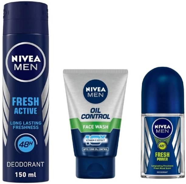 NIVEA Men Fresh Active Deo 150Ml , Oil Control Face Wash 100Ml , Fresh Power Roll ON 50Ml #10