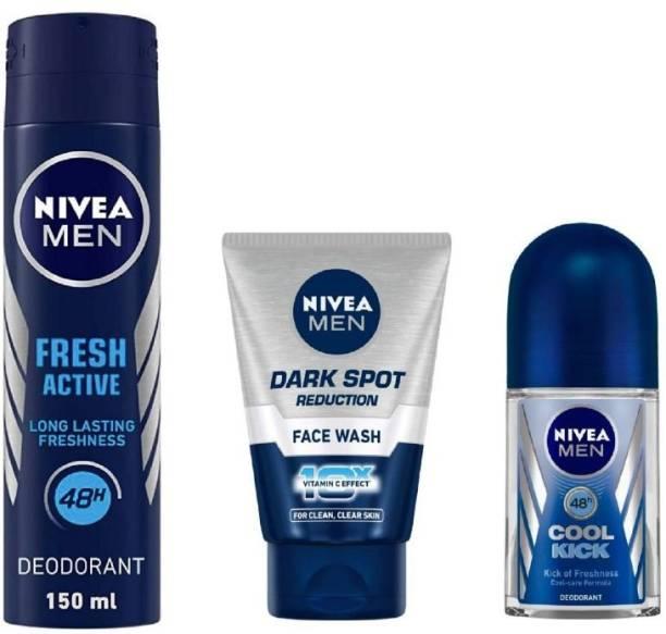 NIVEA Men Fresh Active Deo 150Ml , Dark Spot Reduction Face Wash 100Ml , Cool Kick Roll ON 50Ml #1