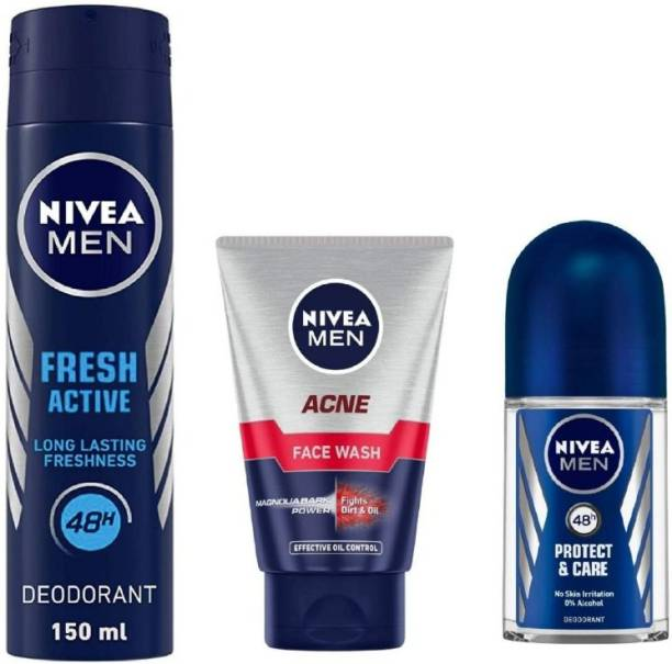 NIVEA Men Fresh Active Deo 150Ml , Acne Face Wash 100Ml ,Protect Care Roll ON 50Ml #27
