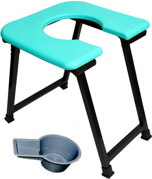 RADIANT TRADERS Imported Folding Commode Stool For Disable Person (Light Weight & Heavy Duty) ( Aqua Green) Commode Chair