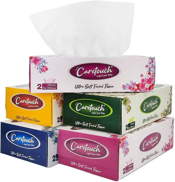 Care Touch 2 Ply Ultra Soft Tissue, Facial Tissue - 100 Pulls (200 sheets per Box) ,Pack of 5 Box