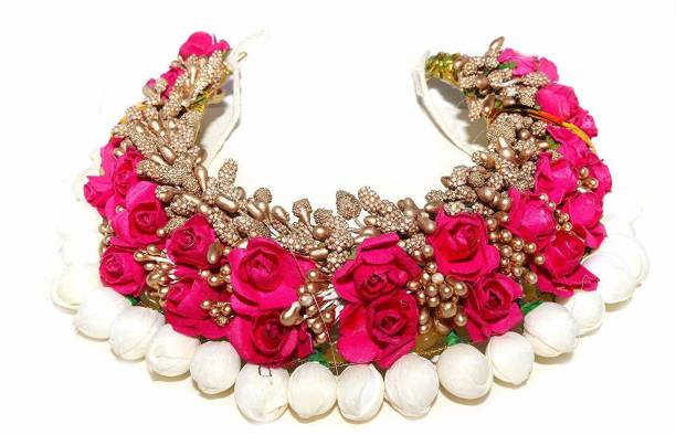 PINS n ROSE Women's Wedding Party Wear Artificial Flower Hair Bun Juda Gajra for Bride Bun