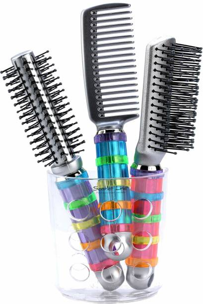 Scarlet Line Round, Flat and Comb Hair Brush Set with Holder For Men n Women, Multicolor