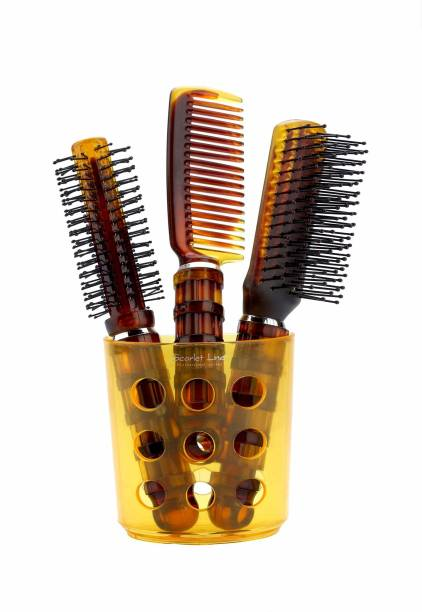 Scarlet Line Round, Flat and Comb Hair Brush Set with Holder For Men n Women, Shell Colour
