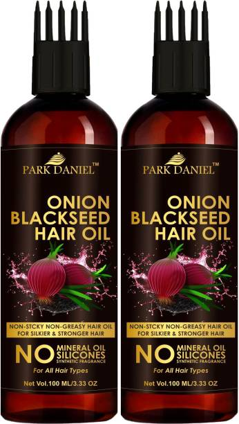 PARK DANIEL Premium Onion Blackseed Hair Oil with Keratin Protein booster, Nourishes Hair follicles, Anti - Hair loss, Regrowth hair With Comb Applicator Combo pack of 2 bottles of 100 ml(200 ml) Hair Oil