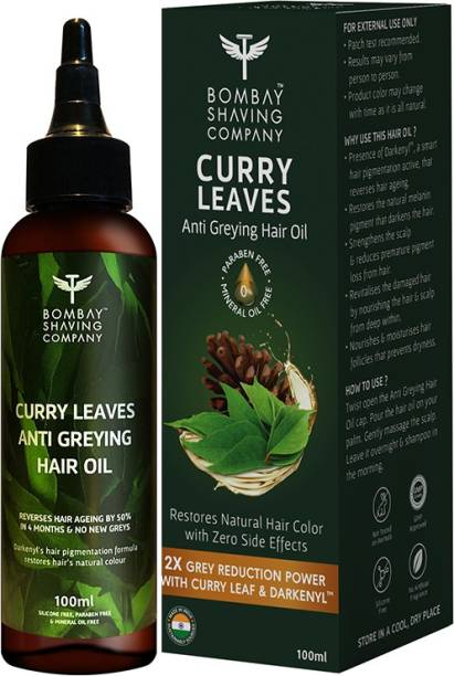 BOMBAY SHAVING COMPANY Anti Greying Hair Oil With Curry Leaves and Darkenyl - Reduces Greys by 50% in 4 Months | 100 ml Hair Oil