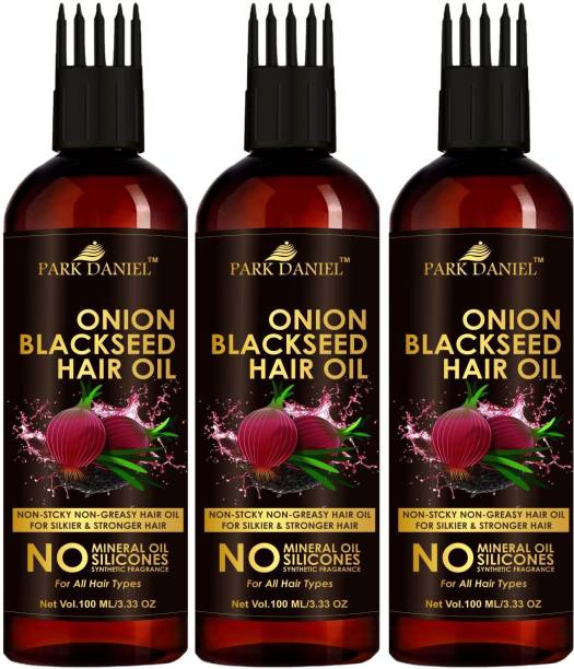 PARK DANIEL Premium Onion Blackseed Hair Oil with Keratin Protein booster, Nourishes Hair follicles, Anti - Hair loss, Regrowth hair With Comb Applicator Combo pack of 3 bottles of 100 ml(300 ml) Hair Oil