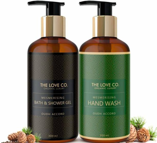 The Love Co. Mesmerising Oudh Accord, Foaming Body Wash with Cleansing and Moisturising Oudh Hand Wash Combo Pack 300Ml Each Hand Wash Bottle