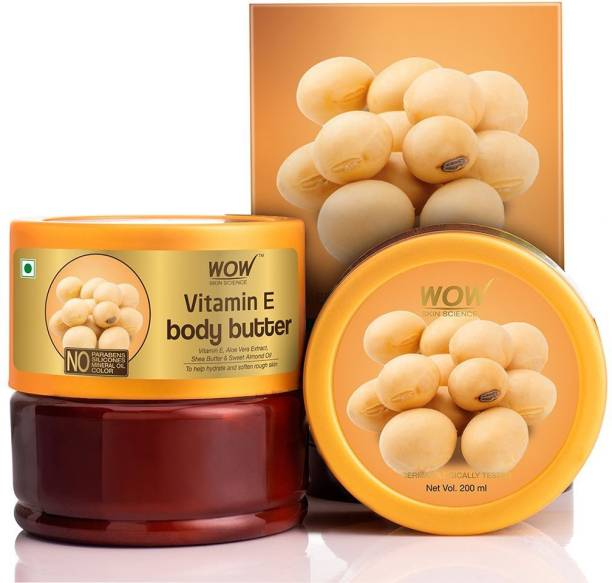 WOW SKIN SCIENCE Vitamin E Body Butter - No Parabens, Silicones, Mineral Oil & Color - 200 Ml