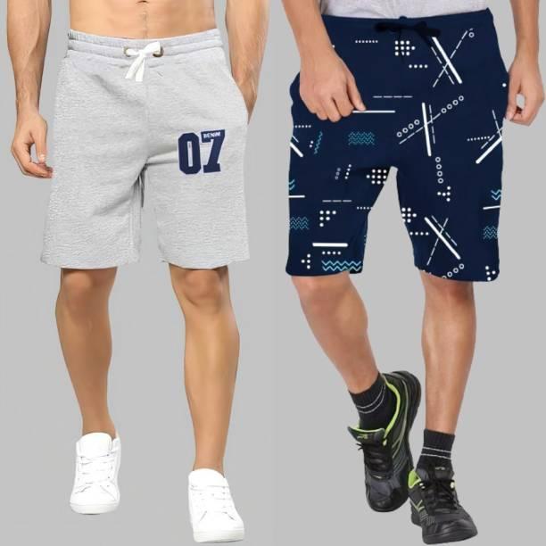 Basis Applique Men Dark Blue, Grey Regular Shorts