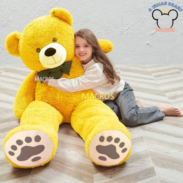 Macros 4 Feet Yellow American Style Cute Jumbo Teddy Bear Special Edition for Gift/Valentine/someone special.  - 100 cm