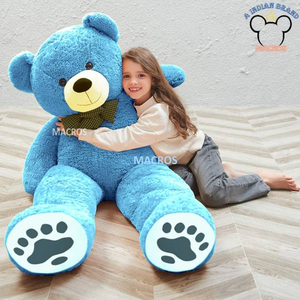 Macros 4 Feet Blue American Style Cute Jumbo Teddy Bear Special Edition for Gift/Valentine/someone special.  - 100 cm