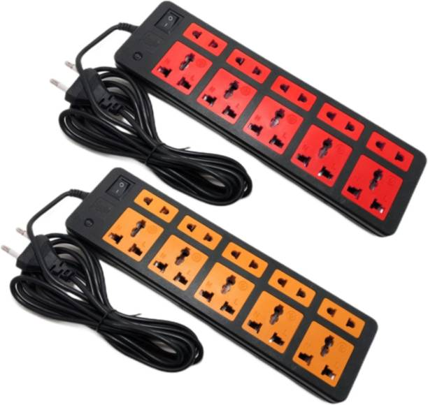 Sanhan ELECTRIC BOARD EXTENSION CORD POWER STRIP SURGE PROTECTOR MULTI PLUG 10 sockets with 3m wire (pack of 2) 10  Socket Extension Boards