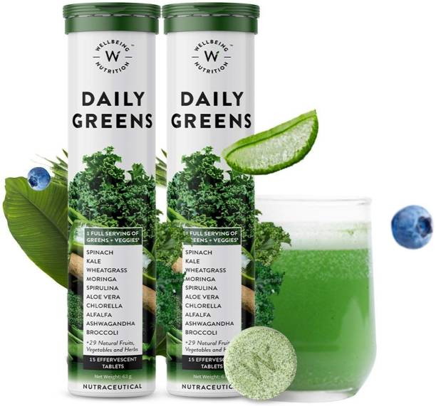 Wellbeing Nutrition Daily Greens with Organic Plant Superfood, Wholefood Multivitamin - Pack of 2
