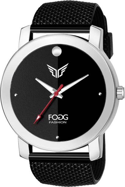 Fogg 2147-BLACK Gents Exclusive Black Rubber Mesh Strap Analog Watch  - For Men