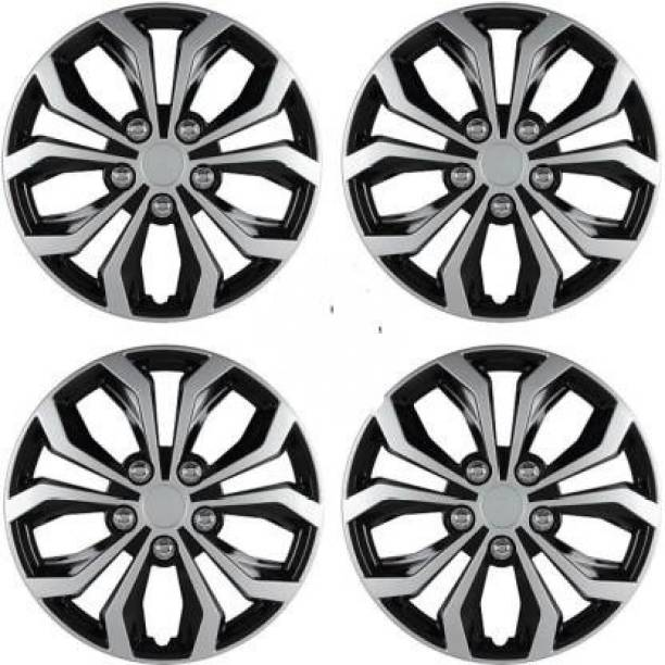 Ubom Dual Color Silver Black 14-inch Tyre Sport Rim cover, Wheel Cover with Rings, wheel cap 14-inch (Set of 4pc, Glossy Silver Black) Wheel Cover Figo Wheel Cover For Ford Figo
