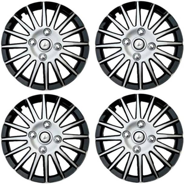 Ubom Dual Color Silver Black 14-inch Tyre Sport Rim cover, Wheel Cover with Rings, wheel cap 14-inch (Set of 4pc, Glossy Silver Black) Wheel Cover Wheel Cover For Maruti Swift