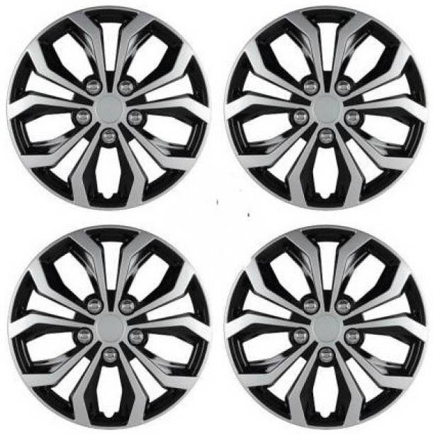 Ubom Dual Color Silver Black 14-inch Tyre Sport Rim cover, Wheel Cover with Rings, wheel cap 14-inch (Set of 4pc, Glossy Silver Black) Wheel Cover Maruti Celerio Wheel Cover For Maruti Celerio
