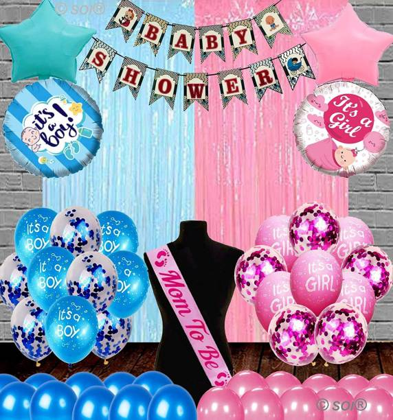 SOI Printed (Set of 48) Baby Shower Decorations Kit Banner, Sash, Curtains and Metallic with Confetti Printed Balloons for Baby Shower Mom to Be Welcome Baby Decoration Materials Products Items Supplies (Banner Combo) Balloon