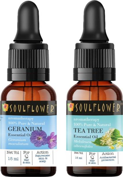 Soulflower Tea Tree Essential Oil 15ml & Geranium Essential Oil 15ml (30 ml)| 100% Pure, Natural and Undiluted for Hair, Skin and Face