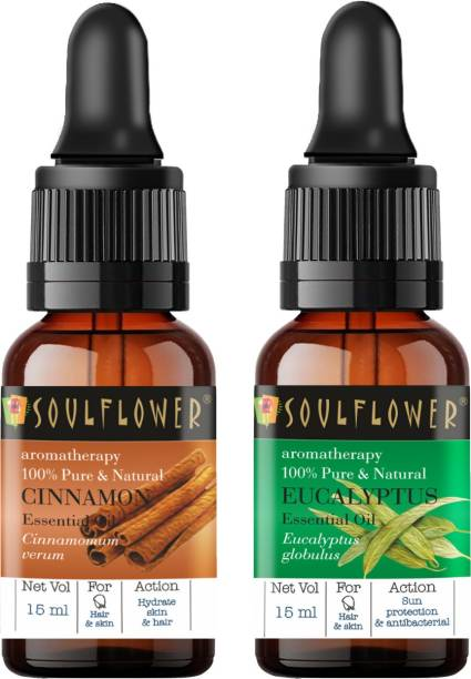 Soulflower Eucalyptus Essential Oil 15ml & Cinnamon Essential Oil 15ml (30 ml)| 100% Pure, Natural and Undiluted for Hair, Skin and Face