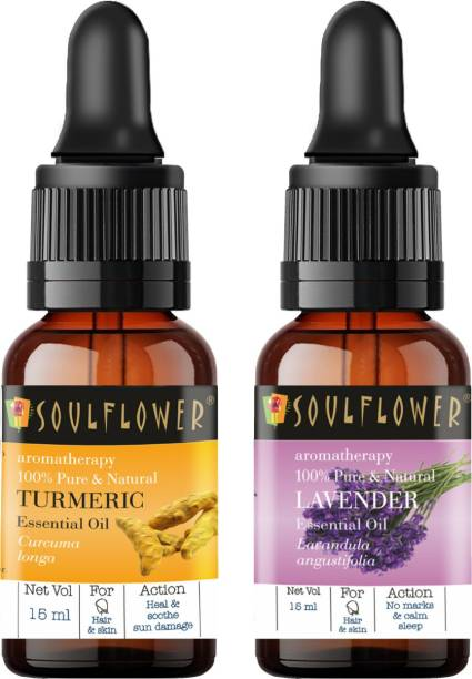 Soulflower Lavender Essential Oil 15ml & Turmeric Essential Oil 15ml (30 ml)| 100% Pure, Natural and Undiluted for Hair, Skin and Face