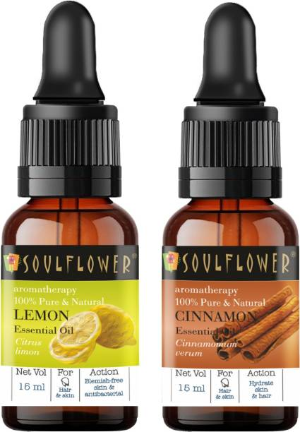 Soulflower Lemon Essential Oil 15ml & Cinnamon Essential Oil 15ml (30 ml)| 100% Pure, Natural and Undiluted for Hair, Skin and Face