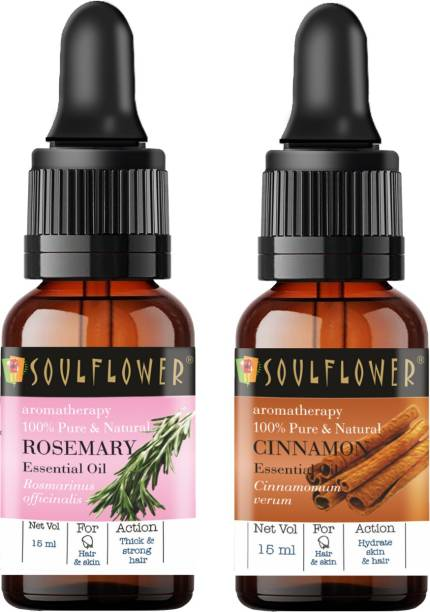 Soulflower Rosemary Essential Oil 15ml & Cinnamon Essential Oil 15ml (30 ml)| 100% Pure, Natural and Undiluted for Hair, Skin and Face