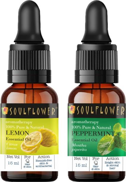 Soulflower Lemon Essential Oil 15ml & Peppermint Essential Oil 15ml (30 ml)| 100% Pure, Natural and Undiluted for Hair, Skin and Face