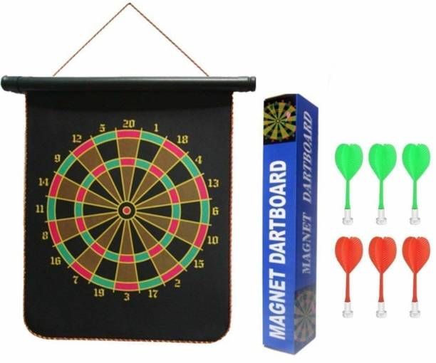 om shiv art Magnetic Dart Game Double Faced Fordable With 4 Colorful non pointed Soft Tip Dart