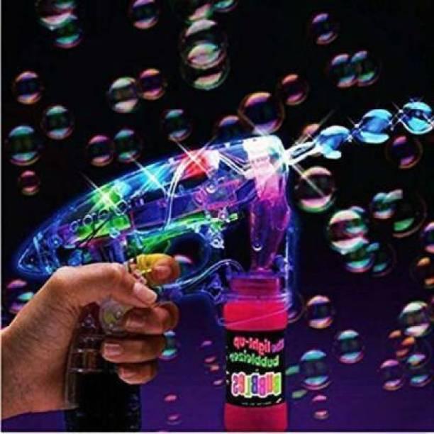 KAKLOTAR Battery Operated Led Bubble Shooter Gun with Bubble Bottle Inside Guns & Darts