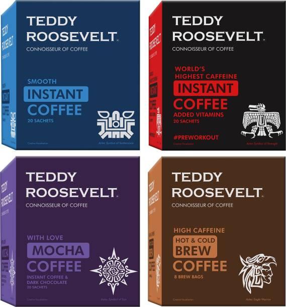 Teddy Roosevelt Combo, Smooth Instant Coffee 50g, High Caffeine Instant Coffee 50g, Dark Chocolate Mocha Instant 50g, Hot & Cold Brew High Caffeine Coffee 100g Instant Coffee