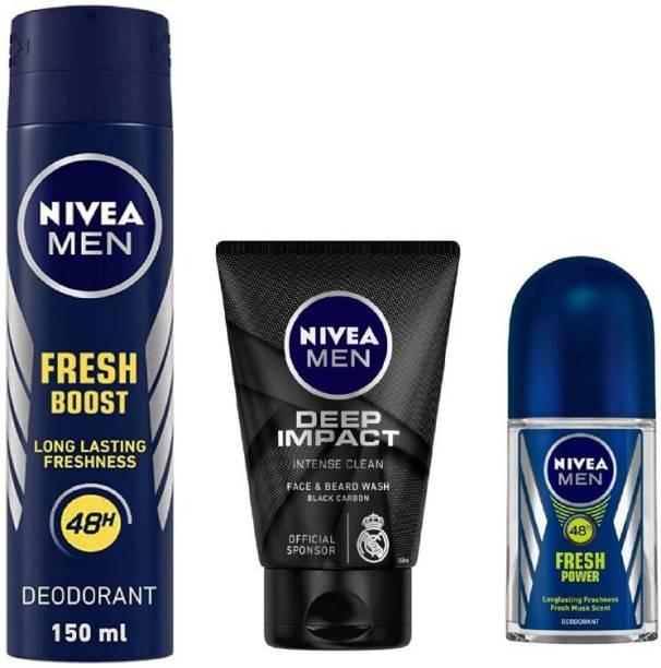 NIVEA Men Fresh Boost Deo 150Ml , Deep Impact Face Wash 100Ml , Fresh Power Roll ON 50Ml #165