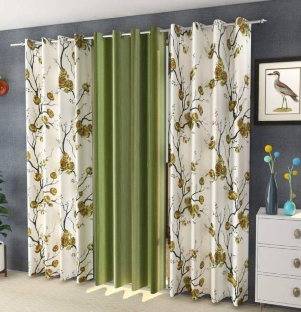 Adimanav 152.4 cm (5 ft) Polyester Window Curtain (Pack Of 3)