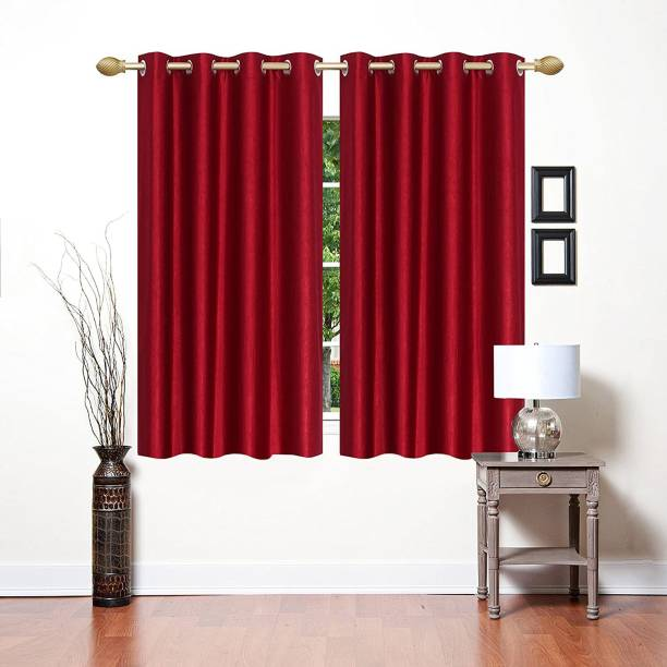 Shavi treders 5 Feet CURTAINS PACKS OF 2 POLYSTER RED Curtain Fabric