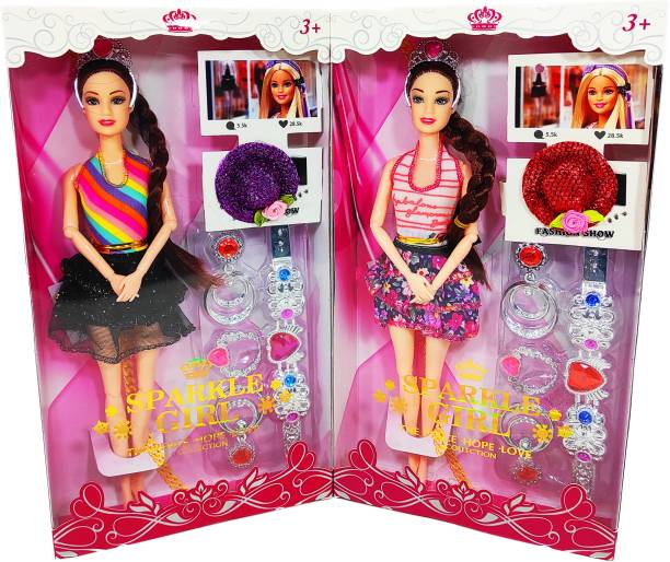 poksi sparkle girl doll with long and gorgeous hairs (PACK OF 2}
